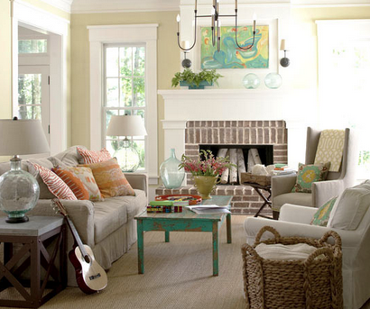 Neutral room with color